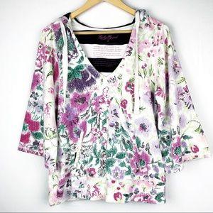 Lucky Brand Floral Boxy Hoodie Medium